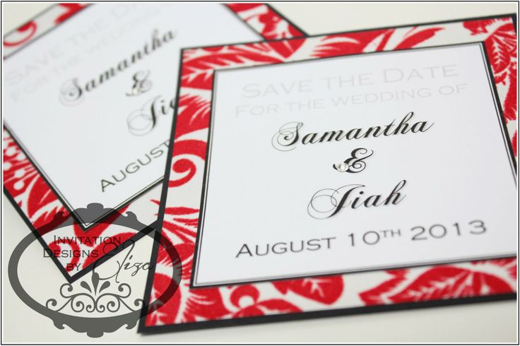Save the Date Designs  {Wedding} Black, White & Red Theme https://www.facebook.com/InvitationDesignsByEliza