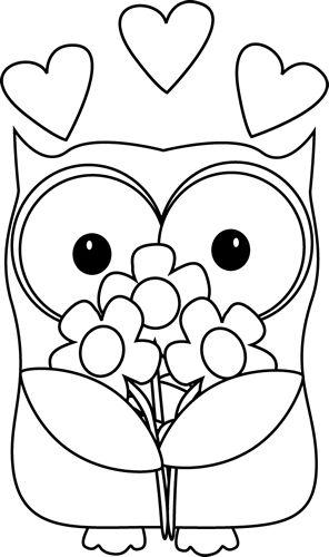 Black and White Valentine's Day Owl