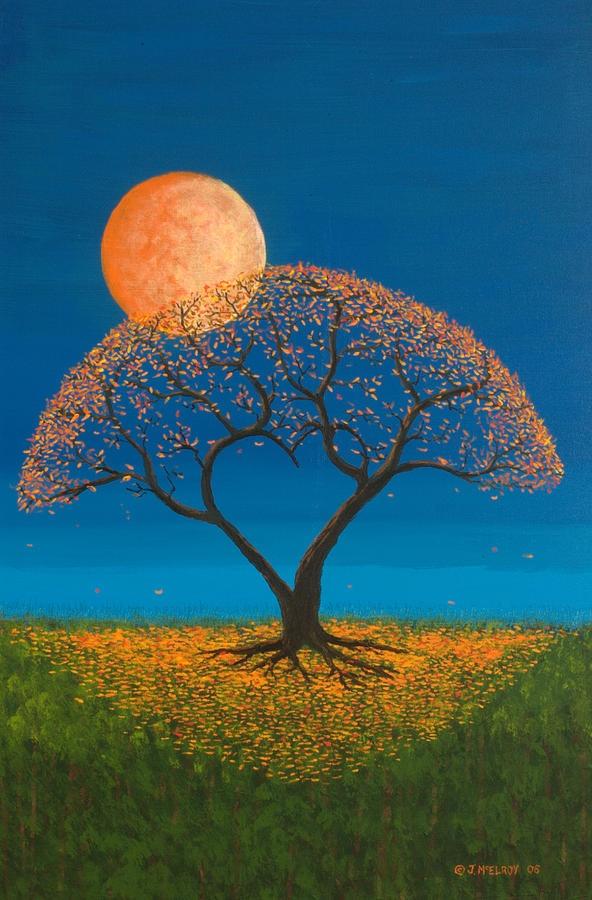 Luna ilumina árbol. I want this!