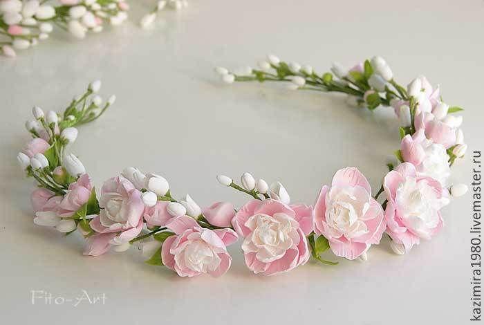 Купить В НАЛИЧИИ. Свадебный венок с мини-пионами - бледно-розовый, венок, венок на голову