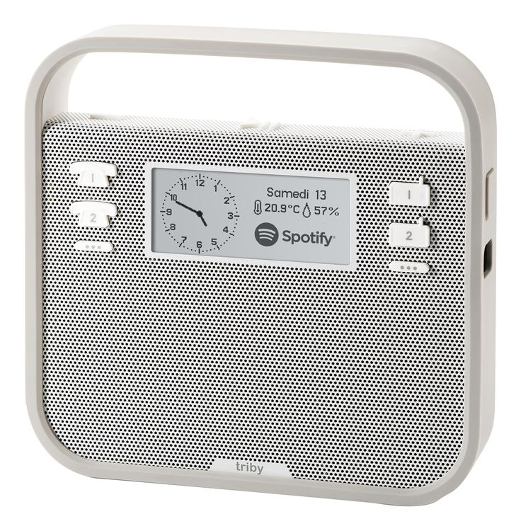 "Invoxia Smart Portable Speaker with Amazon Alexa, Grey. Triby features voice control with Amazon Alexa and is a smart portable speaker, Internet radio, hands-free speakerphone, and connected message board all rolled into one!. Use the Alexa Voice Service to play music, provide information, get the news, set alarms,control smart home devices, and more using just your voice. Just say the wake word ""Alexa"" and Triby responds instantly. Preset Internet radio stations and Spotify playlists for..."