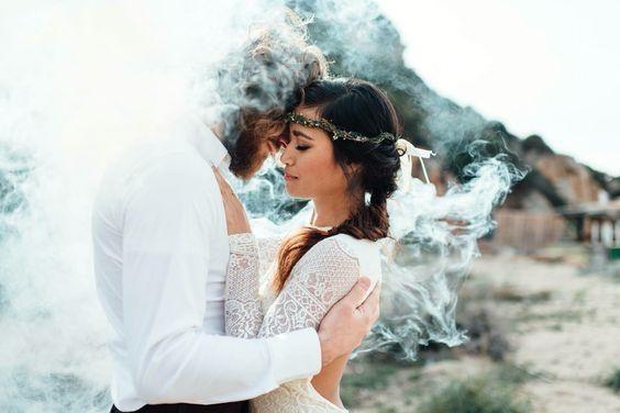 White Smoke Bomb Wedding Couple