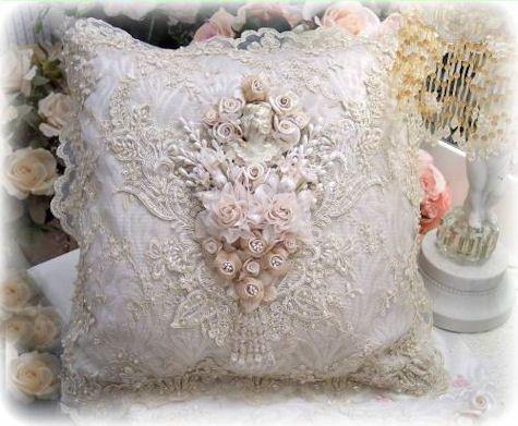 Decorative Hand Beaded Embroidered Pillow Velvet Pillow Victorian Pillow