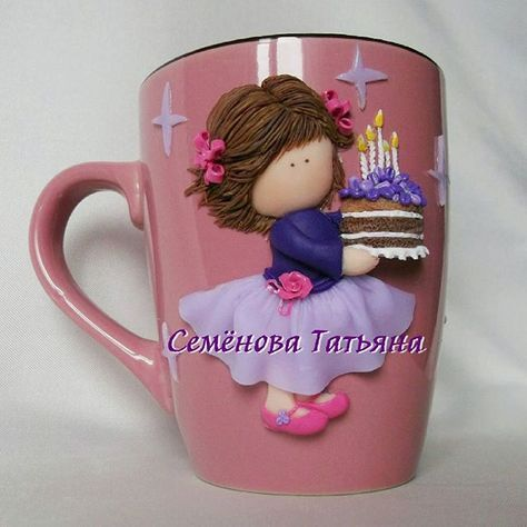 Dětský hrníček na kakao * růžoví porcelán s holčičkou s dortem z polymeru, hezký narozeninový dárek.