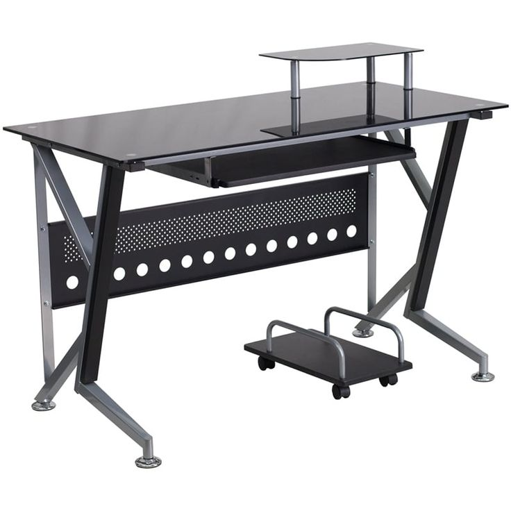 iHome Hamlet Black Glass Home/Office Computer Desk w/Pull-Out Keyboard Tray and CPU Cart, Size Large