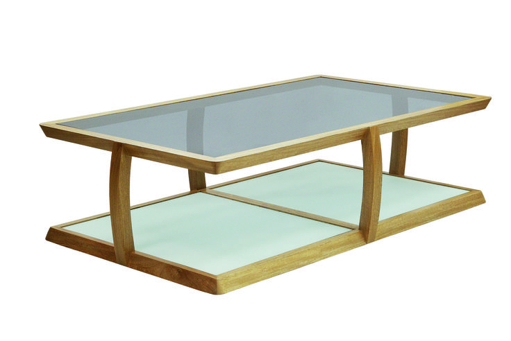 Human coffe table, structure in Oak solid wood, top in glass and base acid treated glass.