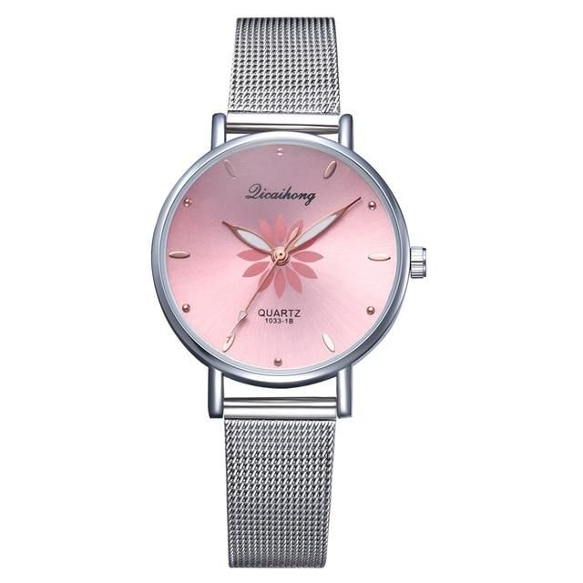 Women S Wristwatches Luxury Silver Popular Pink Dial Flowers