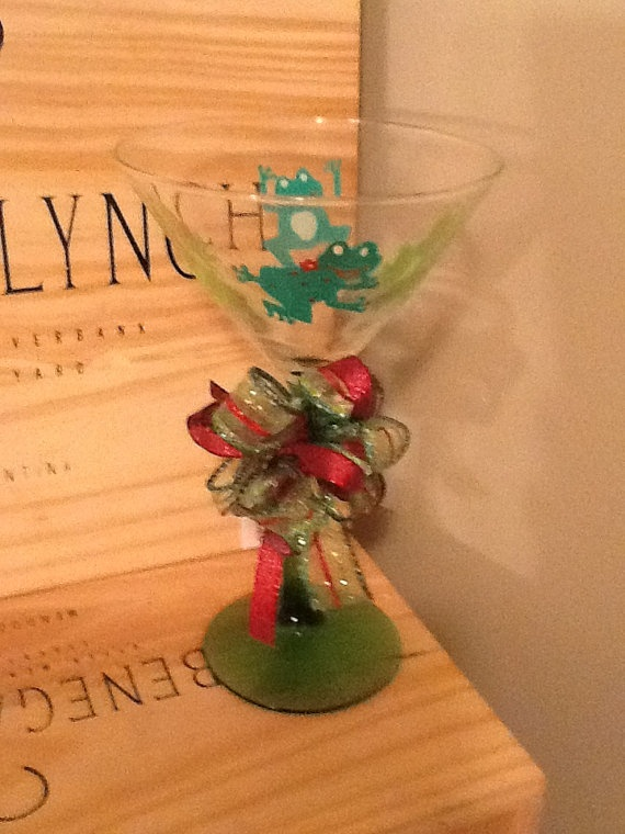 Frog Hand Painted Martini Glass by brandiedmonds on Etsy, $20.00