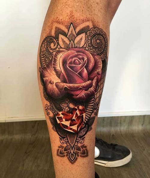 man leg rose tattoo erkek bacak gül dövmesi