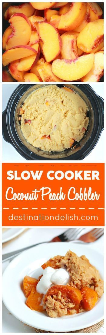 Slow Cooker Coconut Peach Cobbler - a gluten free paleo and vegan version of the classic peach cobbler dessert made with coconut flour and cooked in the crock pot