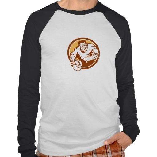 Rugby Player Running Ball Circle Linocut Tshirt. Illustration of a rugby player with ball running attacking set inside circle on isolated background done in retro woodcut linocut style. #Illustration #RugbyPlayerRunningBall #rwc #rwc2015 #rugbyworldcup