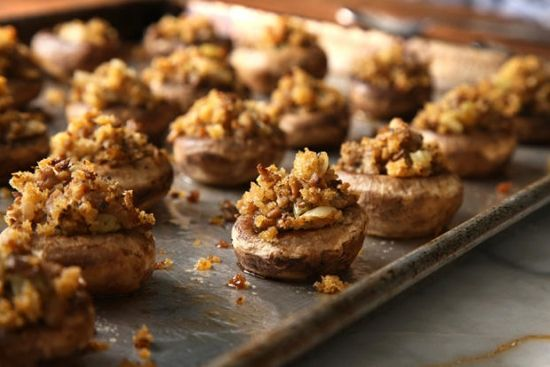Thanksgiving Leftover Stuffing-Stuffed Mushrooms