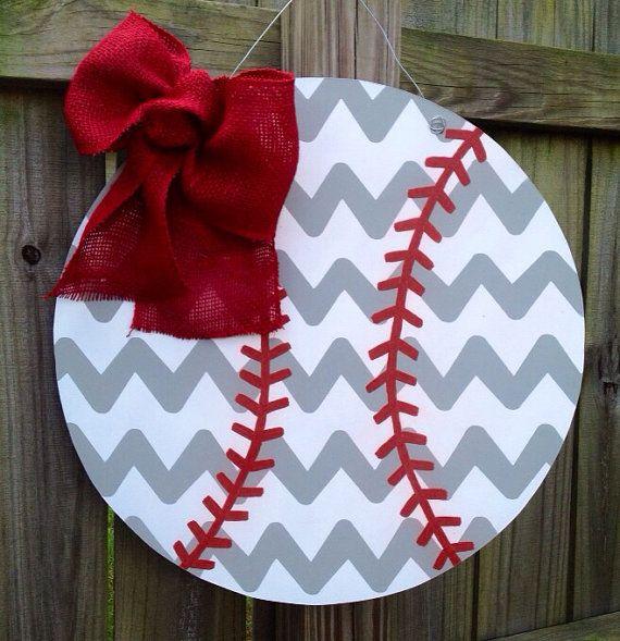 Baseball Wooden Door Hanger on Etsy, $35.00