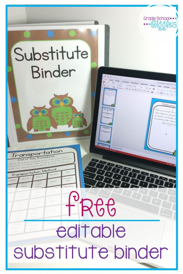 This free owl theme substitute binder is full of editable templates and forms to help substitute teachers keep the classroom on track while you are out. This freebie has everything from a printable cover to an editable note that you might need to get together a sub folder. Just fill in your own information, tips, and schedule. Add in appropriate learning activities for your children and you will we prepared for any absence.