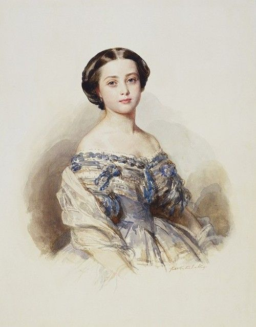 Victoria, Princess Royal (Later German Empress, Queen Consort of Prussia ) Queen Victoria's eldest daughter in a watercolour by Winterhalter 1855 she was only about 15.