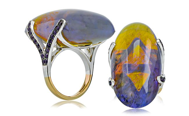 A unique Jobson creation featuring a rare 76ct natural Australian black jelly opal and amethyst set in 18ct rose and white gold.