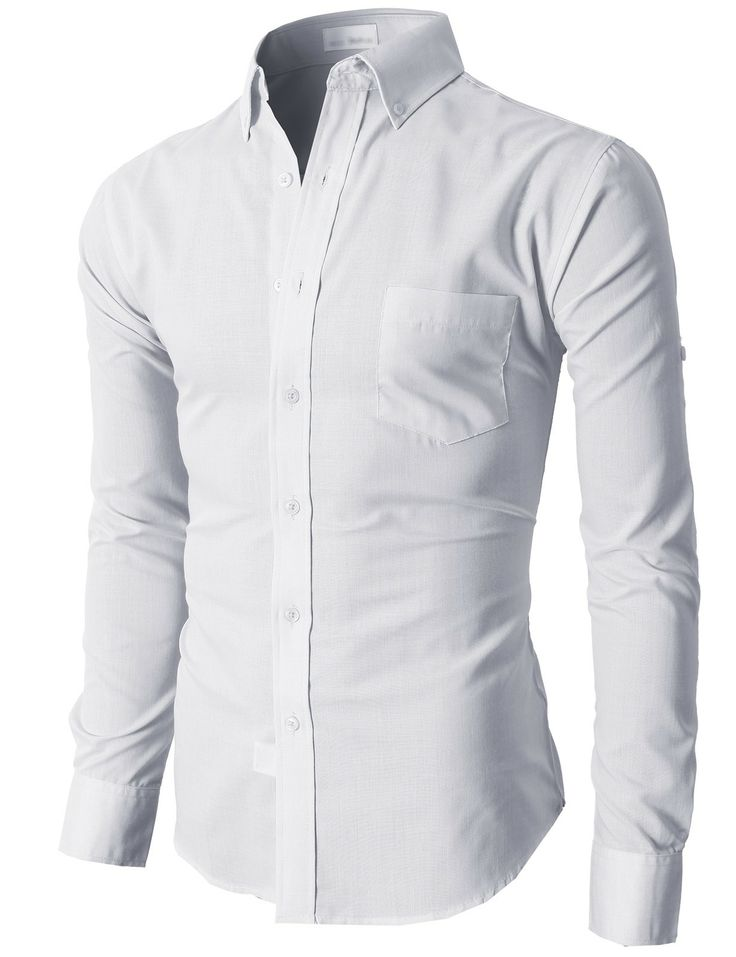 Doublju Men's Casual Button-down Shirts with Convertible Roll-up Sleeves  (KMTSTL0213)