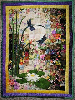 dragonfly & water lily with pieced background quilted wall hanging from the proficient needle
