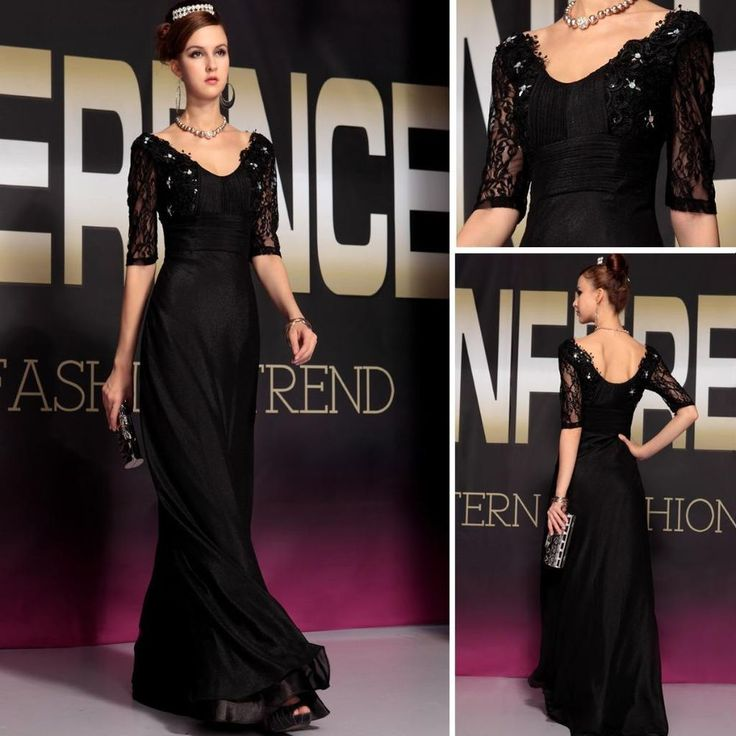 Long Black Evening Gown Formal Party Prom Chiffon Pleated Beading Dress 30738