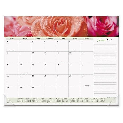 Flowers bloom all year -- keep spring in mind with a vibrant floral image each month. Durable backboard provides a sturdy writing surface. Features full-color, wide-view photos. One month per page with un-ruled blocks and lined notes space. Full-year calendar reference; federal holidays highlighted. Printed on high-quality, recycled paper containing post-consumer recycled material. Size: 22 x 17; Page Color/Theme: Floral; Edition Year: 2018; Calendar Term: 12-Month (Jan.-Dec.).