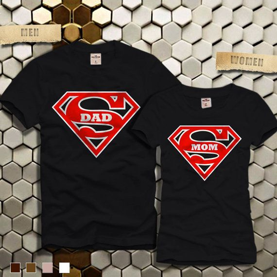 SUPER DAD and MOM Couples Tshirt  Super Dad Tshirt-Super by ELBOEW
