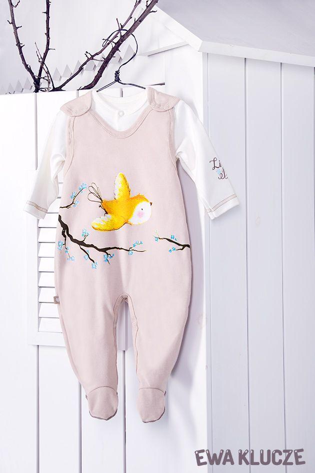 EWA KLUCZE, kolekcja BIRD, komplet śpioch i kaftan beżowy, jesień-zima 2018, ubranka dla dzieci, EWA KLUCZE, BIRD collection, baby girl beige set, baby clothes