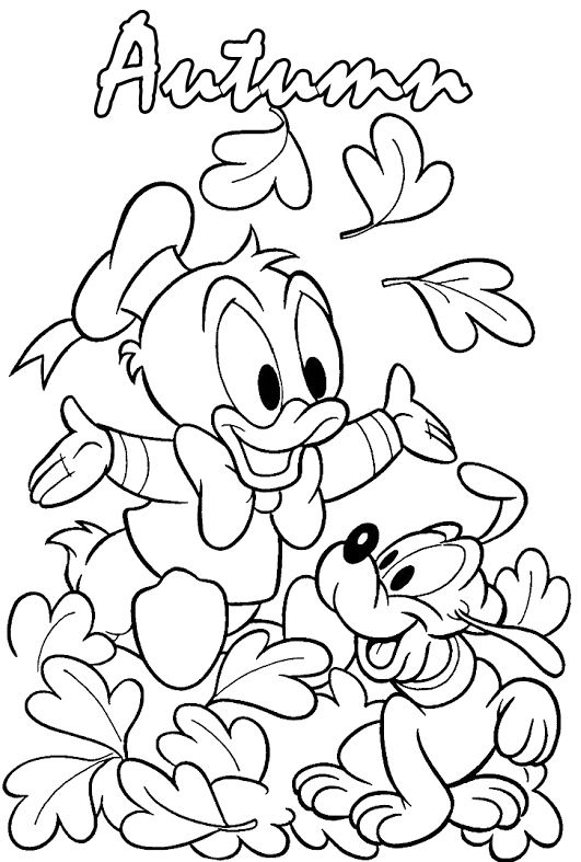 Donald And Pluto Playing In The Fall Season Coloring Pages