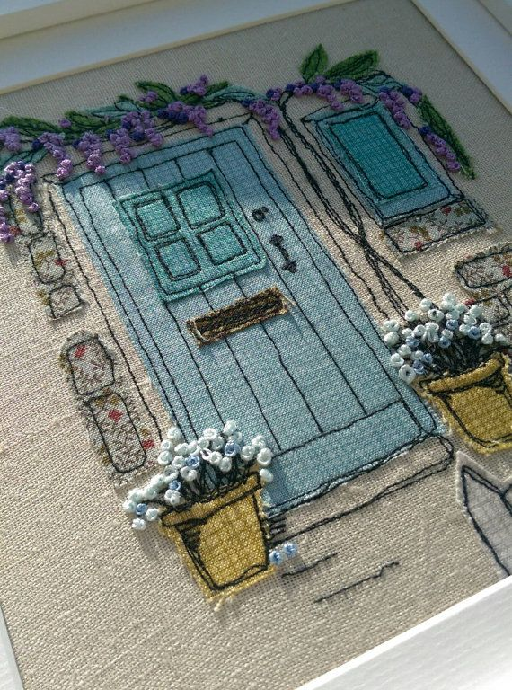 Handmade Wisteria Cottage Embroidered Picture. Ideal for New