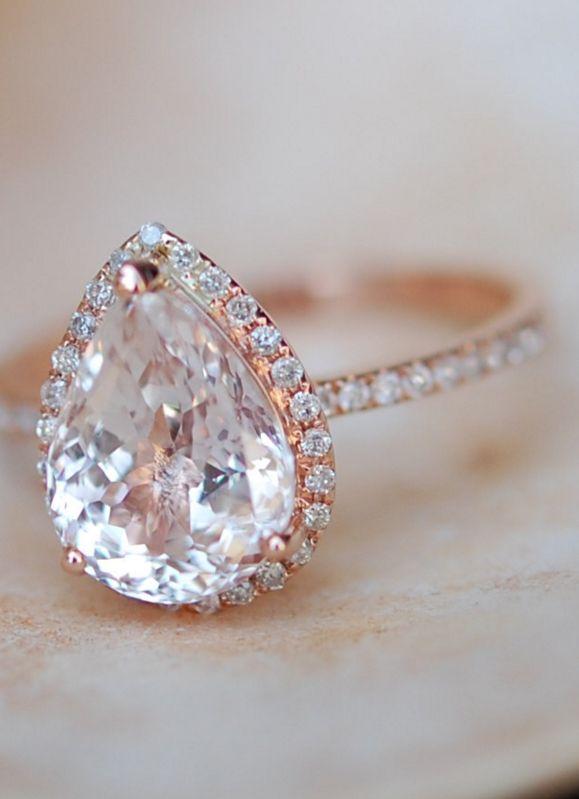 Peach champagne Sapphire Engagement Ring 14k Rose Gold 4.3ct, Pear Cut Peach Sapphire Ring.