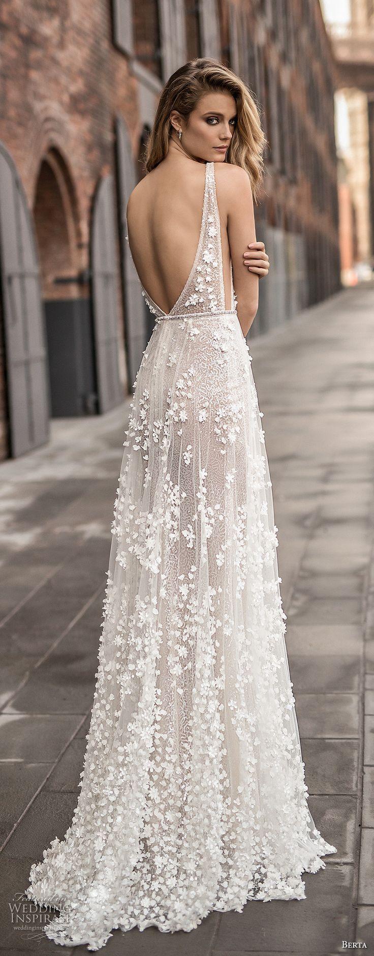 Berta spring 2018 bridal sleeveless deep plunging v neck for Colorado springs wedding dresses