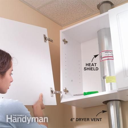 Build cabinet that covers dryer vent