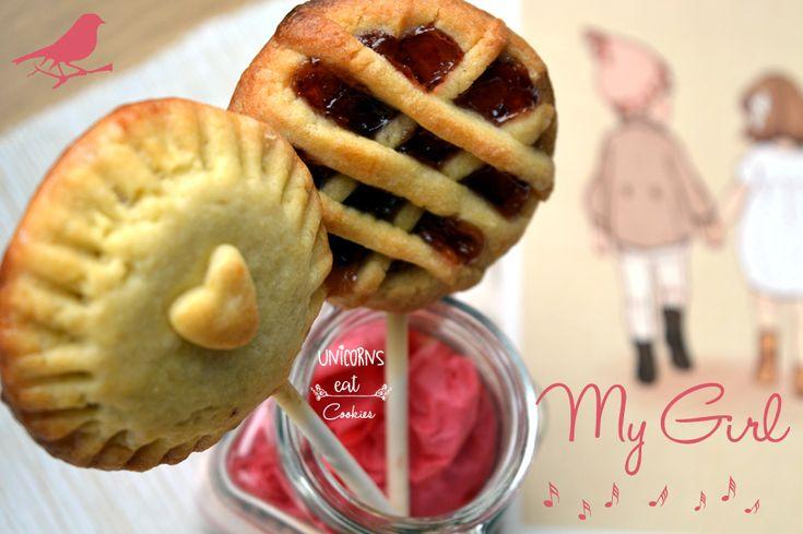 pie pops, unicorns eat cookies, crostatine su stecco, dolci, ricette, idee per feste, party idea, brunch, tart, pie, crostata