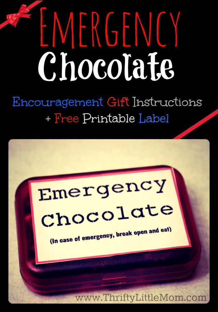 """Make your own """"Emergency Chocolate"""" box with inexpensive materials to give away to teachers, co-workers or friends for encouragement. Step by step picture instructions + Free Printable Label"""