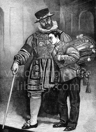 Beefeater. Victorian illustration showing a picture of a Beefeater (guard at the Tower of London)in his elaborate Tudor traditional dress; he is talking to a boy soldier in dress uniform with his side drum and bugle slung over his shoulder. Download high quality jpeg for just £5. Perfect for framing, logos, letterheads, and greetings cards.
