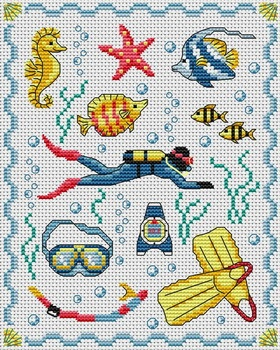 Scuba Counted Cross Stitch Patterns Cross Stitch Sea