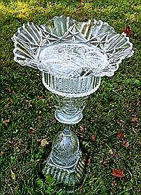Cut Glass Bird Bath. Upcycled from a bowl, goblet, lamp shade, candy dish bottom and fluted bowl.