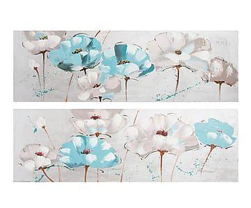 Set de 2 lienzos pintados a mano Flores - 150x50 cm