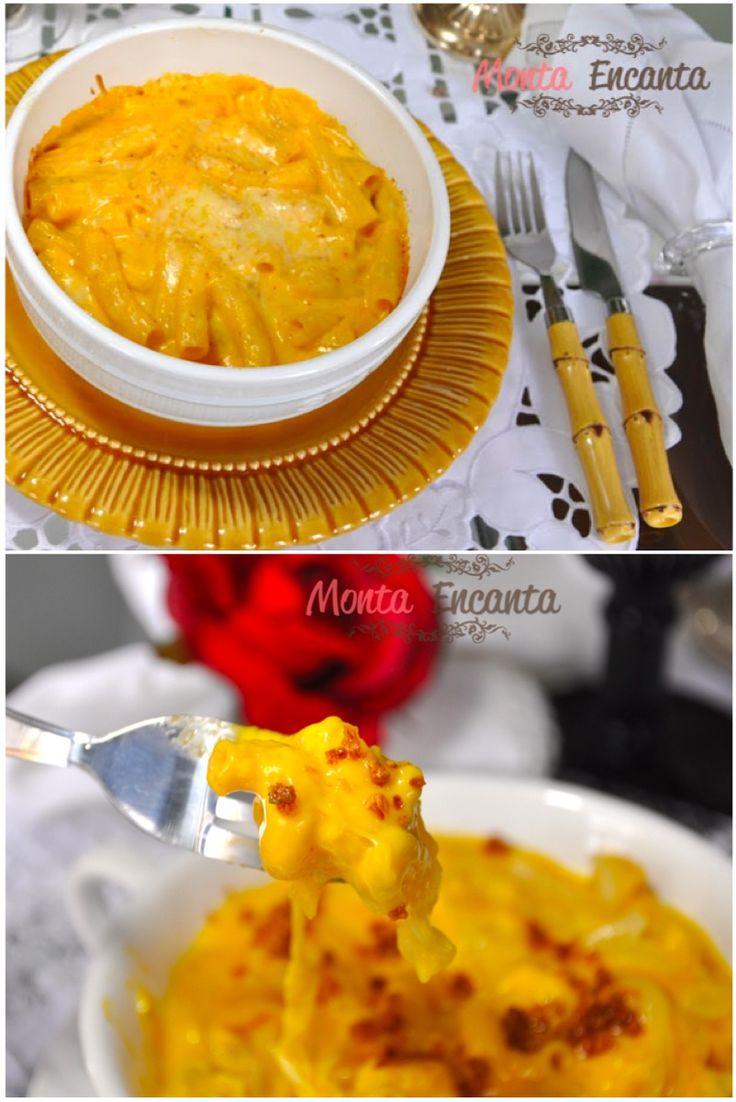Mac n' Cheese, um clássico da comida food americana, massa curta com molho e cobertura de queijos, gratinado ao forno.