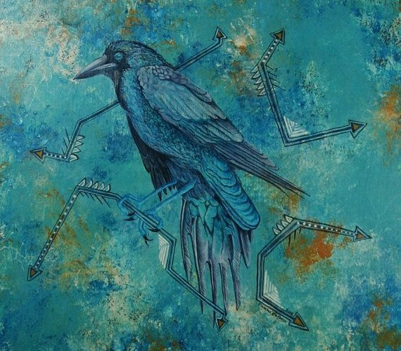 Raven Perched in a Turquoise World Original by raptorsandretablos