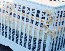 Baby Boy Southwestern Bedding - Aztec Baby Bedding - Custom Crib Bumper - Bumperless Baby Bedding - Navy and Gold Nursery - Crib Rail Guard