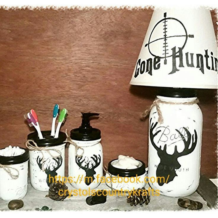 Check out this awesome 4 piece deer,buck bathroom set! find the matching mason jar lamp in my shop made from a large 1/2 gallon mason jar with a hand painted lamp shade. Black and white deer hunting theme set, woods, woodland, cabin, lodge, man cave theme