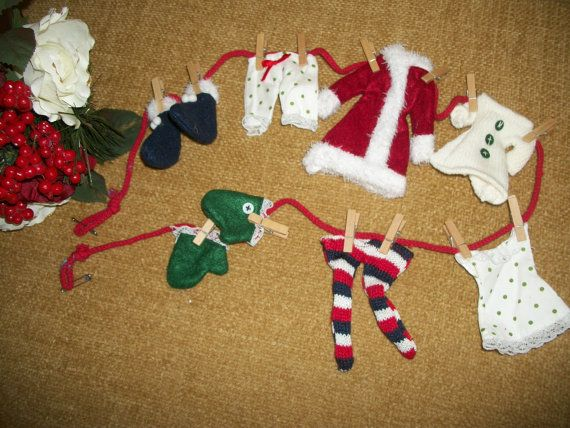 Mrs santa claus laundry clothes line garland by