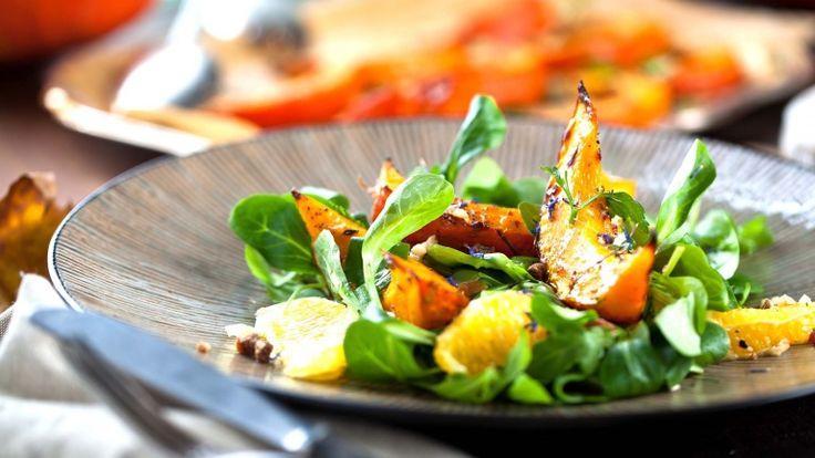 Insalata di zucca e pompelmo, insalatona gourmet, ricette con la zucca, ricetta