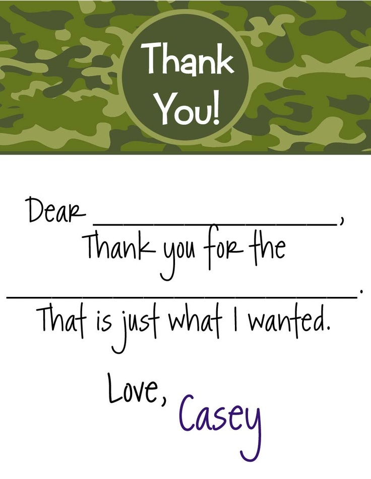 12  Fill in Camo Thank you Note Cards Personalized. $6.95, via Etsy.