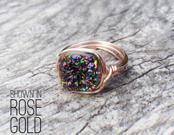 Peacock Druzy Ring Druzy Ring Peacock Druzy Wire by SouthernWire