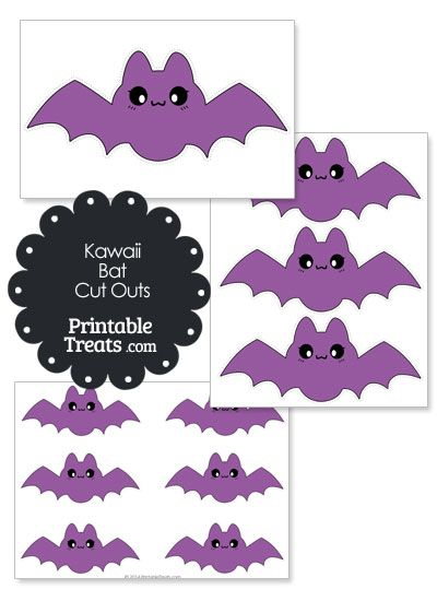 Printable Purple Kawaii Bat Cut Outs from PrintableTreats.com
