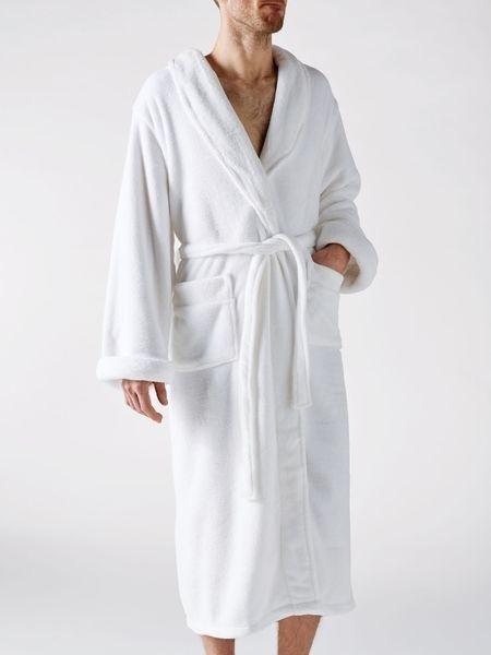 Linen House Microfibre Bath Robe White Polyester Bathroom Bathrobe Gown