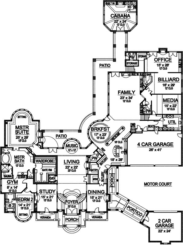 European Style House Plans - 15079 Square Foot Home , 2 Story, 7 Bedroom and 7 Bath, 6 Garage Stalls by Monster House Plans - Plan 63-115