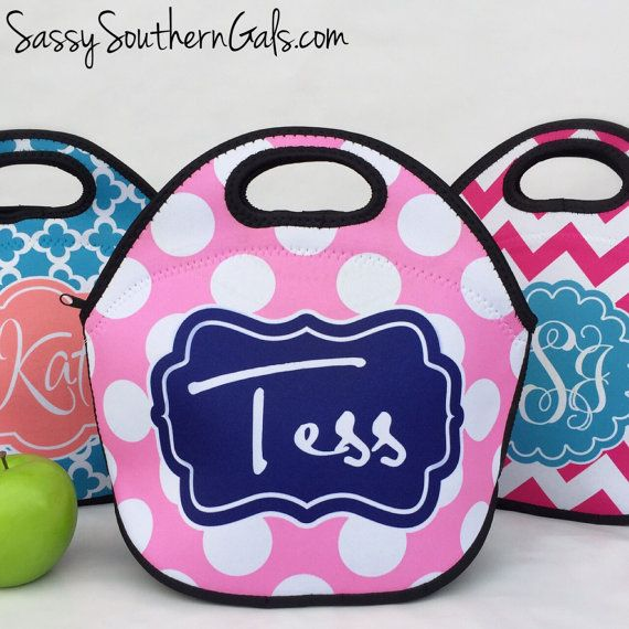 Lunch Bag Monogrammed Lunch Box Monogrammed by SassySouthernGals
