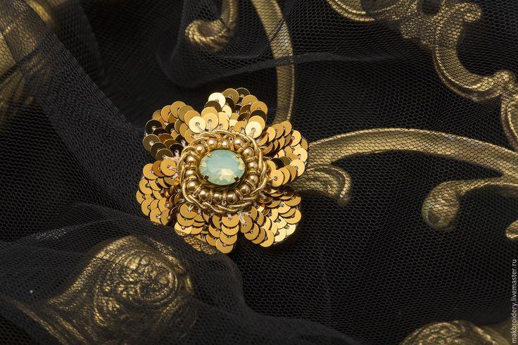 """Купить Брошь """"Gold flowers"""" - золотой, бирюзовый, вышивка, цветок, брошь, брошь цветок"""